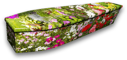 Colourful floral coffin design