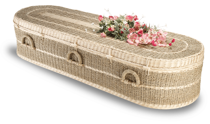 Eco Pandanus coffin with pink flowers on top