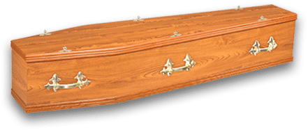 Traditional wooden coffin