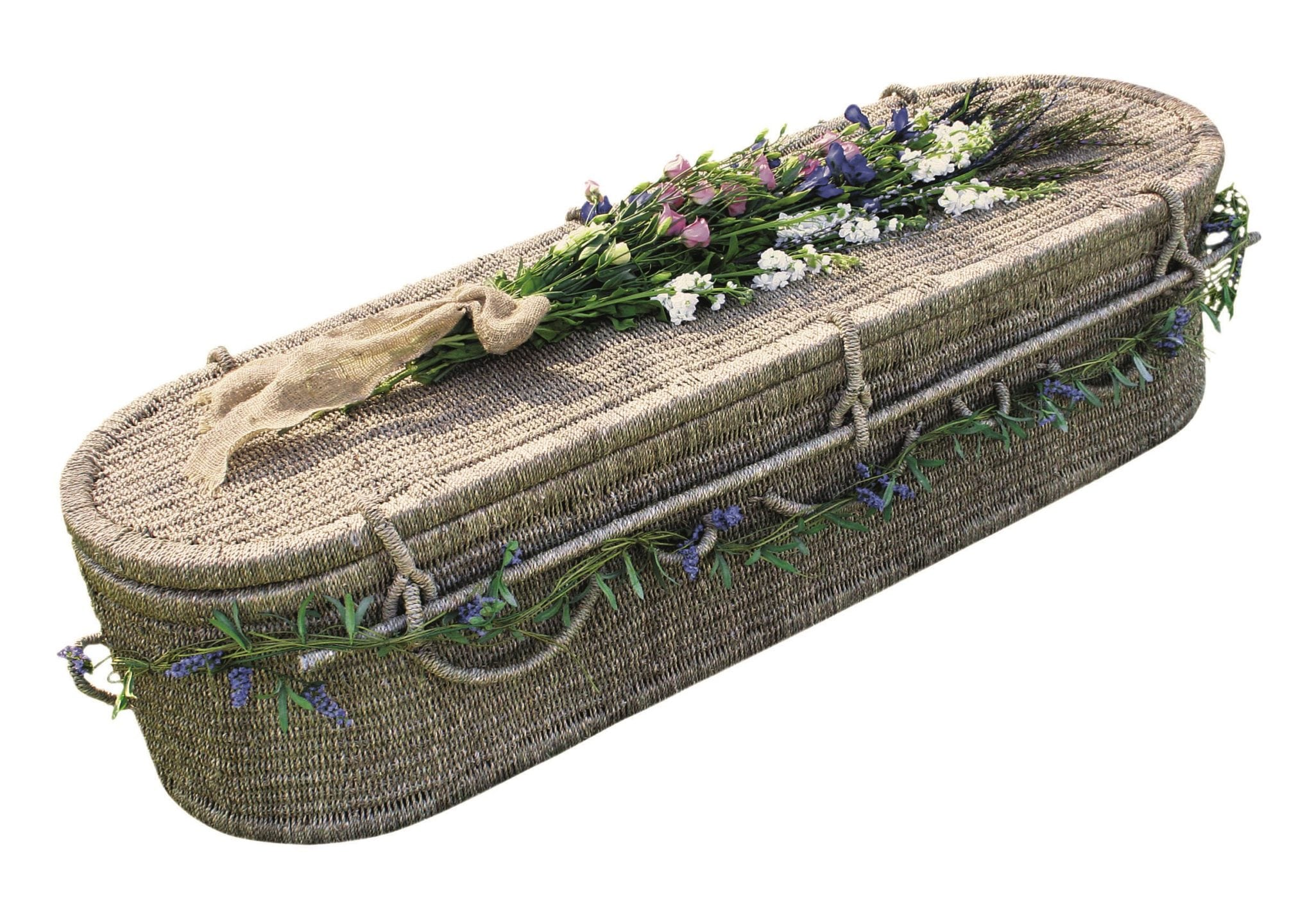 Eco friendly coffin with flowers on top