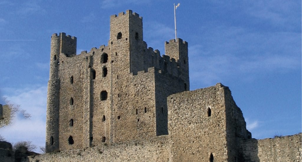 Rochester Castle under bright blue skies