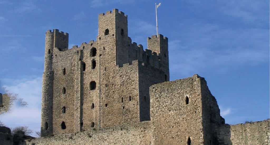 Rochester castle pictured with blue skies