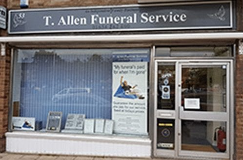 Twydall shop front of T Allen Funeral Director