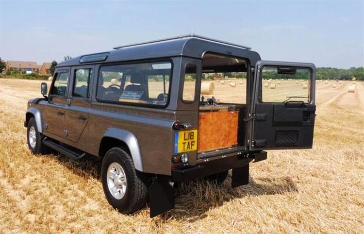 Rear view of Land Rover hearse