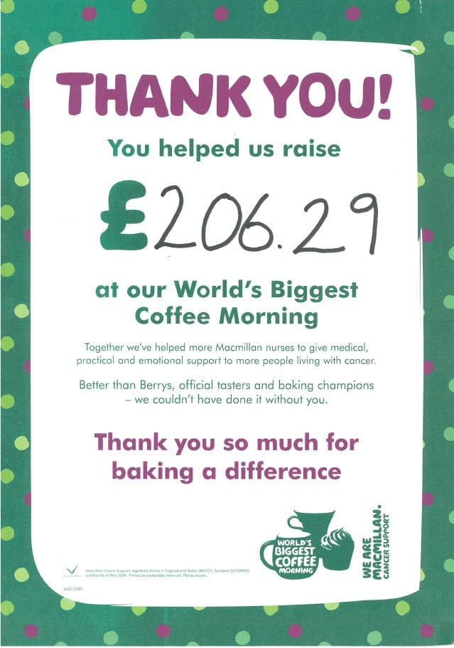 Thank you to all those who attended our Macmillan Coffee Mornings!