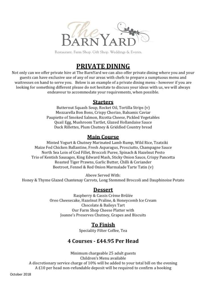 Private Dining Example Menu