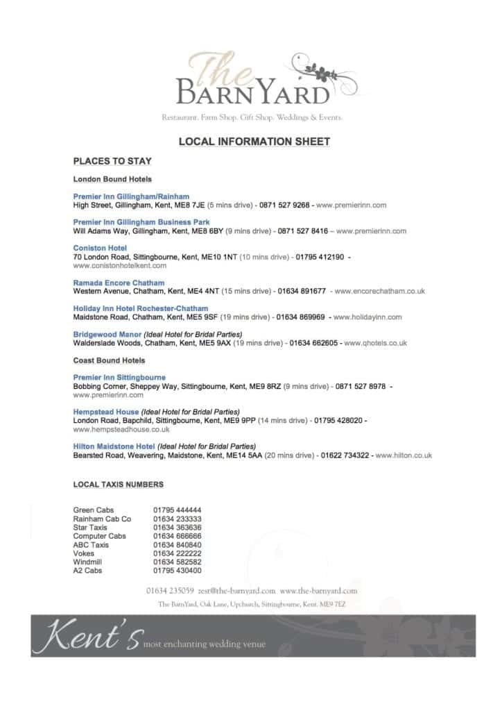 Local Hotels and Taxi Companies