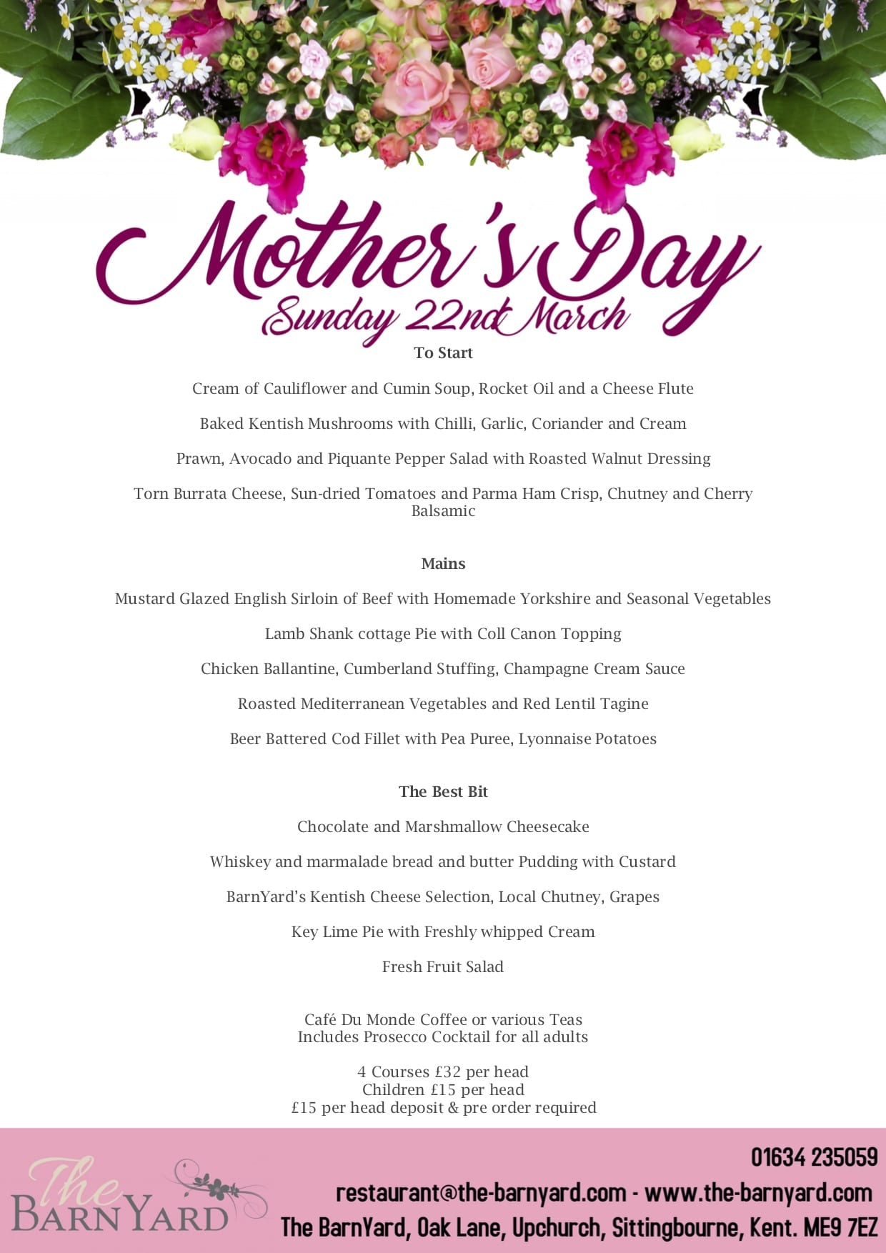 Mother's Day Menu at The BarnYard