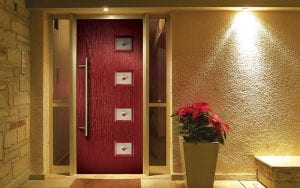 Red hurst composite door with front porch light on