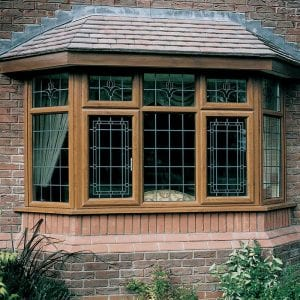 Oak effect bay and bow windows