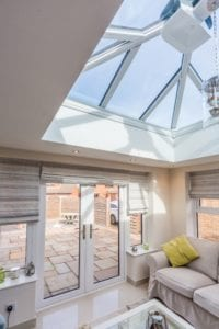 Bright lantern roof in a white ceiling
