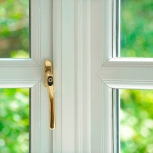 SynerJy White Window Gold Handle Close Up